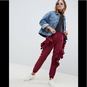 Asos Design Burgundy Ruffle Sweatpants
